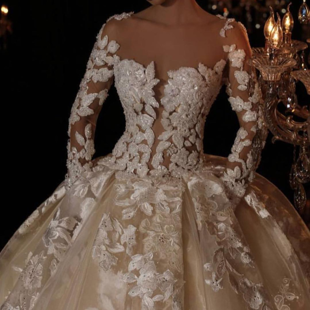 Eslieb High Quality Custom Made Full Beads Ball Gown Wedding Dresses Long Sleeves Muslim Wedding Dress 2019