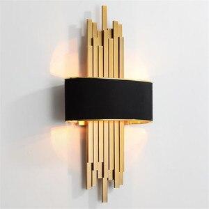 Image 1 - Светодиодный настенный светильник в виде металлической трубы для гостиной, золотистый/черный корпус, лампа для спальни, лампа для гостиной, домашний декор в стиле лофт, 90 260 В, скандинавский светильник