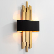 Metal Pipe Living Room Led Wall Light Gold/Black Body Bedroom Lamp Corridor Wall Sconce Loft Home Deco 90 260V Nordic Luminaire