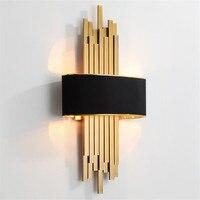 Metal Pipe Living room Led Wall Lamp Gold/Black Body Bedroom Wall Light Corridor Wall Sconce Loft Wall Deco 90 260V Nordic Lamp