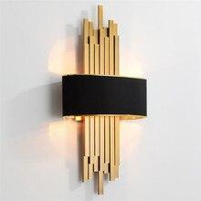 Tubulação de metal sala de estar conduziu a luz da parede ouro/corpo preto quarto lâmpada corredor arandela loft casa deco 90 260v nordic luminária