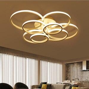 Image 2 - Lustres modernos luzes led luminárias de jantar para casa interior preto anéis sala estar quarto lâmpadas com controle remoto lustre