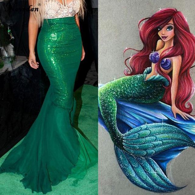 Fancy Mermaid Tail Adult Sequin Mermaid Prom Evening Party Dress Women The  Little Mermaid Ariel Princess Cosplay Costume 77210dbde871