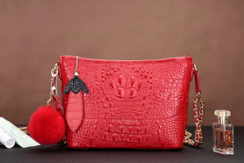 цены Latest Design production 100% crocodile skin lady shoulder cross body small size bag in color of red black and pink free ship