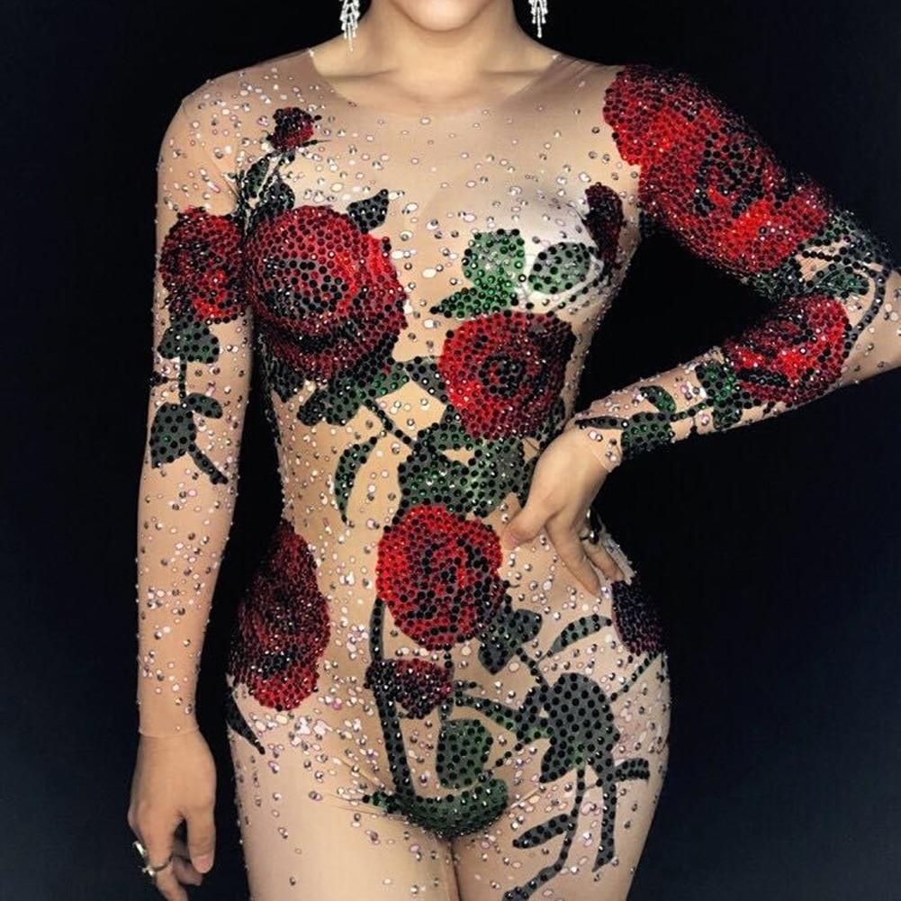 029314e0c0c1b Sexy Rompers Fringe Rhinestones Jumpsuit Womens Outfit Dance Bodysuit  Nightclub Costume Female Singer Dance Tattoo Wear