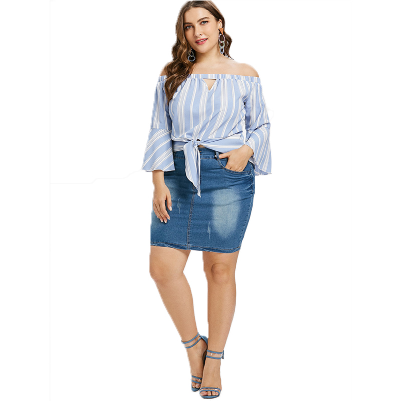 Womens Light Blue Striped Shirt Sexy Off Shoulder Tops Flare Sleeve Elegant Blouse Crop Tops Summer For Ladies Large Size 2019