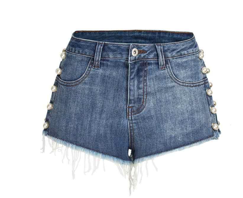 Sexy Pearl nity spodenki jeansowe dla kobiet duży rozmiar myte spodenki dżinsowe kobieta Slim wysoka talia lato Denim krótkie S/ 3Xl S67