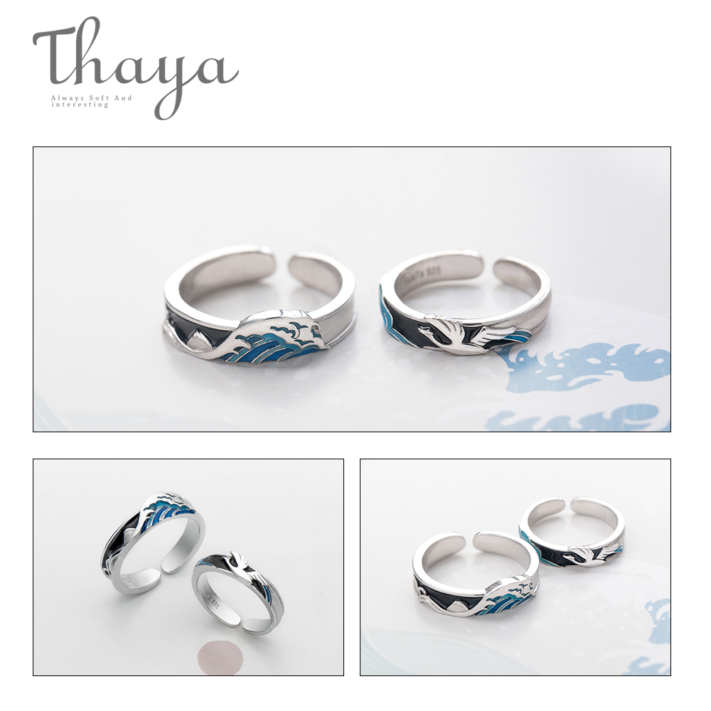 Image 5 - Thaya Flying Bird Wave Ring s925 Silver Blue Drop Oil 3D Wave Couple Rings for Women Elegant Irish Fine Jewelry Lovers'Gift-in Rings from Jewelry & Accessories