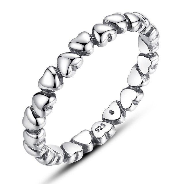 Autentico 925 Sterling Silver Impilabile Anello 8 Stili Amore Per Sempre il Cuore Delle Donne Anello di Barretta Femminile Anello di Fidanzamento Dei Monili Anel
