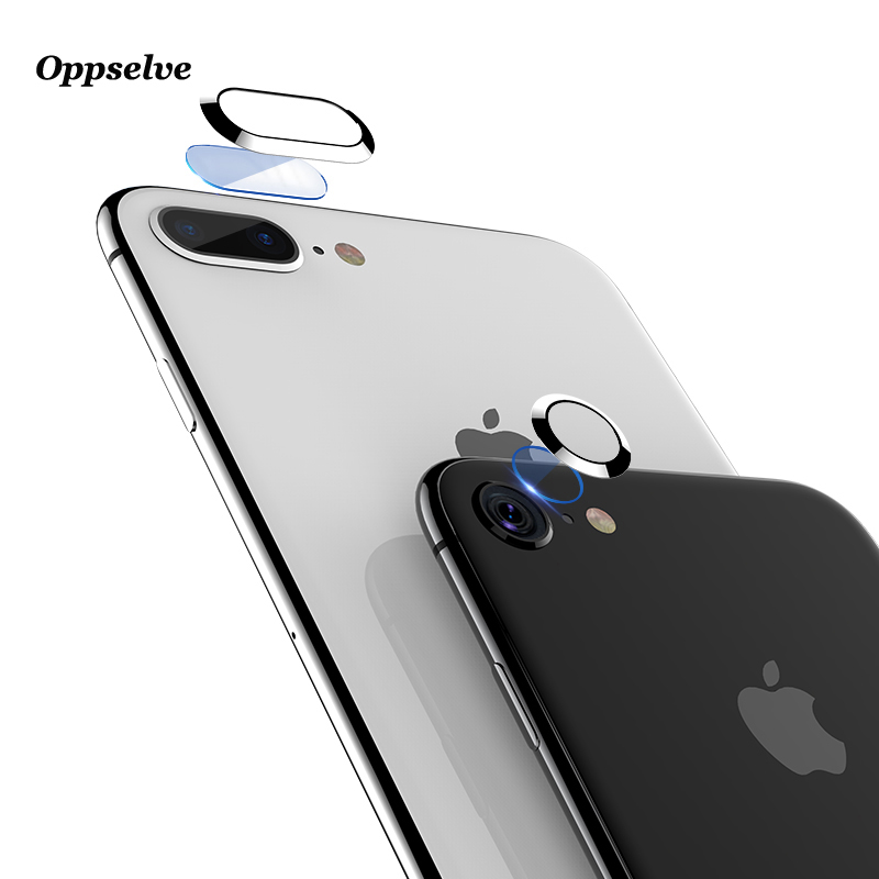 Transparent Clear Camera Lens Screen Protector For iPhone 8 7 Plus Tempered Glass+Metal Rear Lens Protective Ring For iPhone 8
