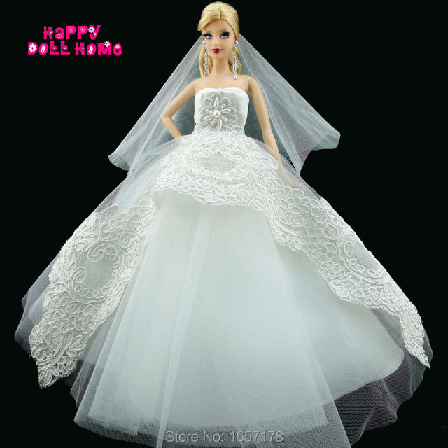 Handmade Wedding Party Dress Bridal Veil White Gown With Copy Pearl Beads Lace Clothes For Barbie Doll Kurhn FR Gorgeous Gift
