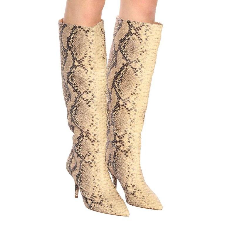 THEMOST Dames Femmes Suède De Vache Serpent peau le Genou Bottes Cuissardes Stiletto Talons Marti Automne Botas Mujer Celeb Chaussures plus
