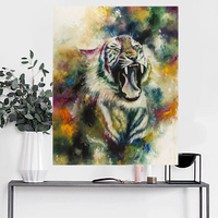 Handmade Abstract Tiger Oil Painting on Canvas Big Mouth Tiger Oil Painting for Wall Art Pictures