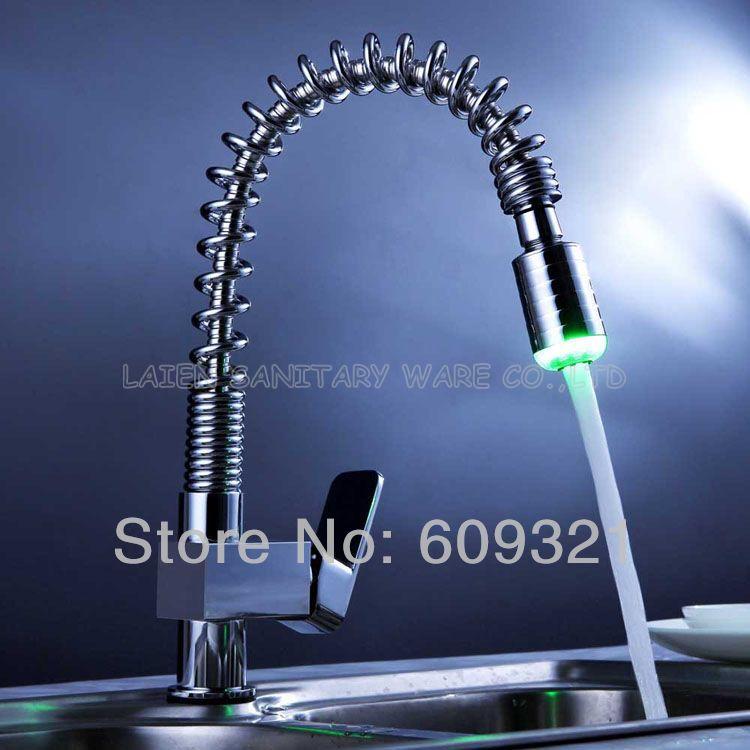 Superfaucet Brass LED Faucet Kitchen Faucet Mixer LED Kitchen Faucet Pull Out LED Sink Tap