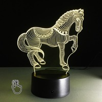 3D LED Colorful Night Light Horse Hologram Illusion Acrylic Table Lamp Bedside Desk Lamps Holiday Atmosphere For Child Kids