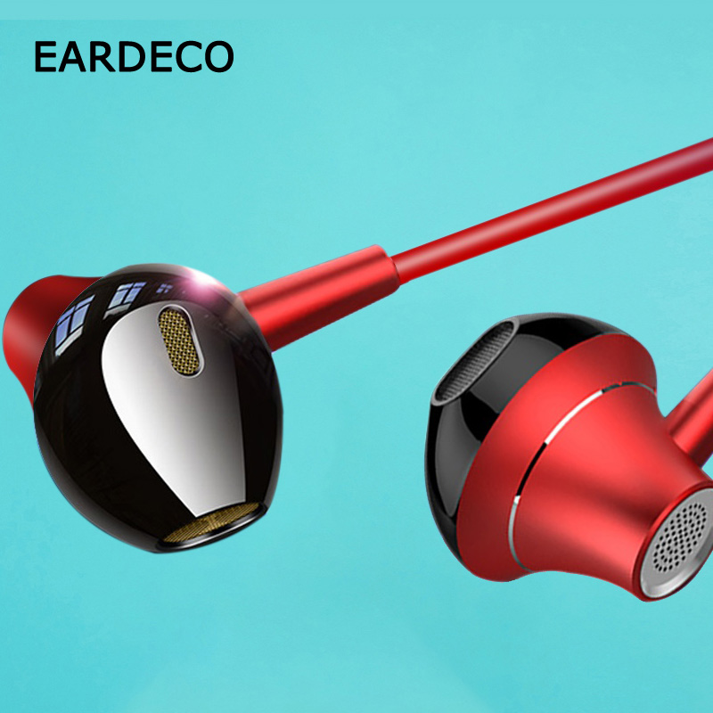 EARDECO Heavy Bass Sport Wired Phone Earphone Earbuds Noise Headsets For Mobile In Ear Headphones With Microphone Earphones