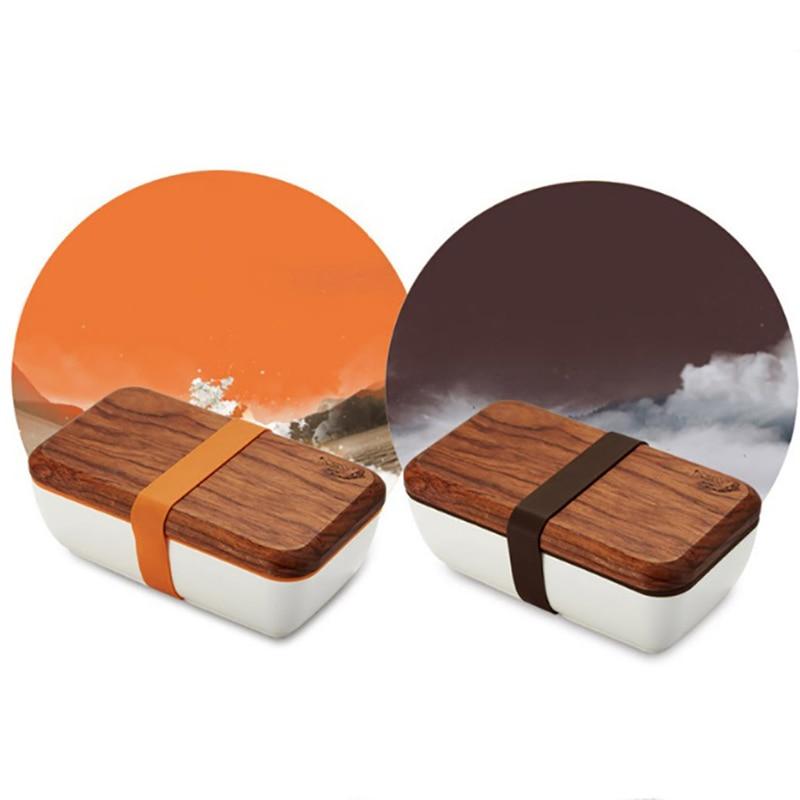 MICCK Japanese Wood Bento Box Eco Friendly Ceramic Lunch