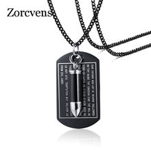 ZORCVENS Urn Openable Bullet Pendant For Men Necklce Black Bible Dag Tag Stainless Steel Male Punk Ashes Cremation Jewelry(China)