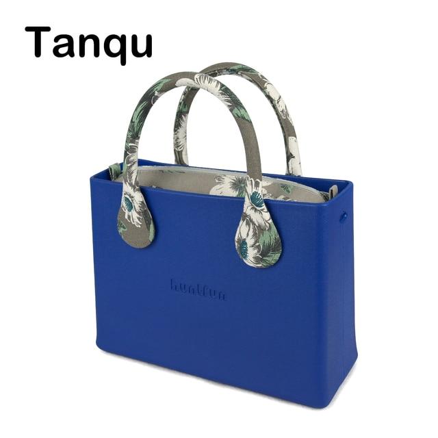 New huntfun Rubber Silicon EVA Square Bag Floral Canvas Insert Handle Waterproof O Bag Style Women Handbag shoulder bag