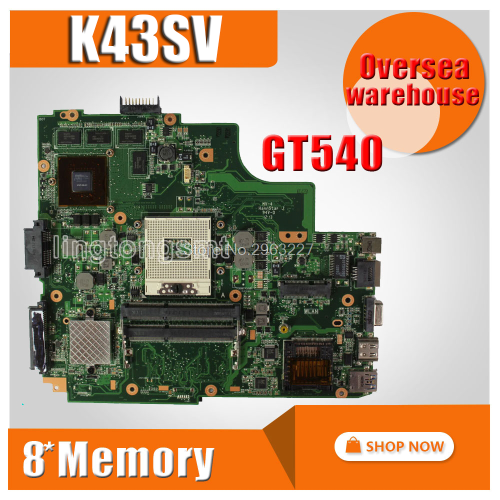 K43SV Motherboard REV3.0 GT540M 1GB For ASUS A43S K43S K43SJ A84S X43S Laptop motherboard K43SV Mainboard K43SV Motherboard servo servo driveacs606 acs806 new original authentic