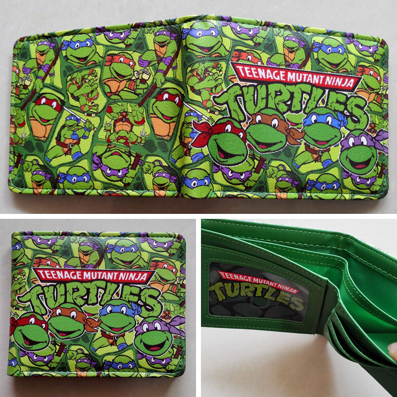 цена на 2018 Anime Teenage Mutant Ninja Turtles TMNT Logo wallets Purse Green Leather W110