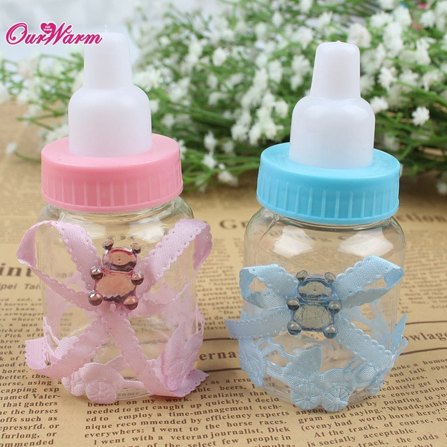12Pcs/lot Baby Shower Gifts Bag Cute Plastic Baby Feeding Bottle Candy Box for Party Decorations Wedding Favors and Gifts Boxes