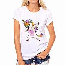 2017 Summer Unicorn shirt women Harajuku Kawaii Unicornio Print Shirts Round Neck Licorne White Women Blouses S M L XL XXL