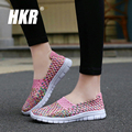 HKR 2017 spring breathable women flats light flat loafers shoes Cheap Walking flats woven shoes for women nurse shoes 712