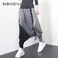 TWOTWINSTYLE Patchwork Harem Trousers For Women Elastic Large Size Ruched Drawstring Striped Women S Pants Spring