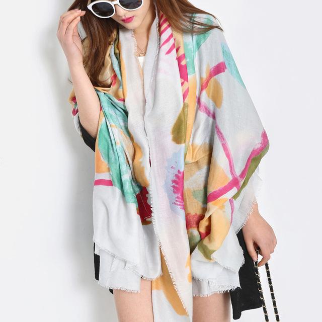 La nueva de un solo día de original belleza salvaje salvaje flores escarlata de la bufanda mantón de la impresión de Corea