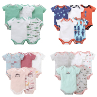 5pcs Set Newborn Baby boy Summer Romper Graffiti Baby Romper infant Jumpsuit 2018 High Quality Baby Girl boy Summer Clothes