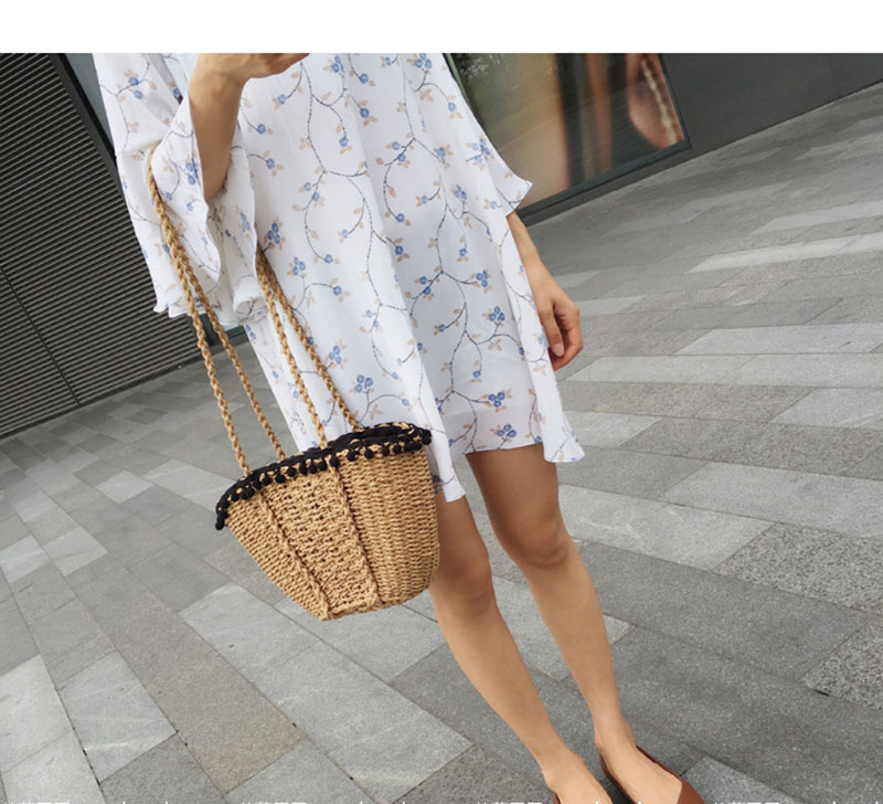 REREKAXI New Bohemian Beach Bag for Women Cute Handmade Straw Bags Summer Grass Handbags Drawstring Basket Bag Travel Tote 4