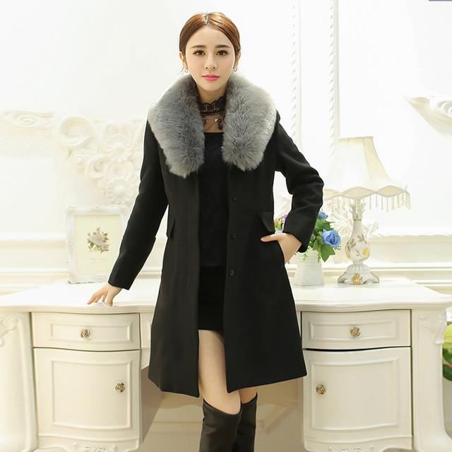 2017 Women Winter Wool Coats Long Sleeves Fur Collar Coat Ladies ...