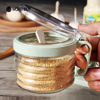 WORTHBUY Wheat Straw Spice Jar Salt Sugar Container Pepper Shaker With Lid Spoon Seasoning Bottle Glass Kitchen Accessories