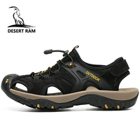 DESERT RAM Brand Men Safety Toe Protect Sandals Top Cow Leather Breathable Mesh Sandalias High Quality Summer Beach Water Shoes