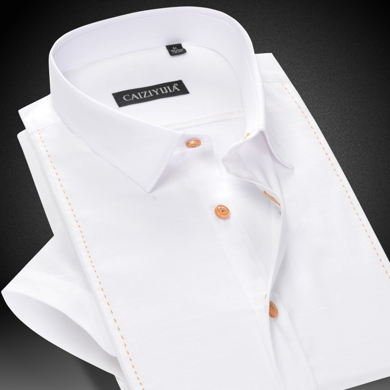 CAIZIYIJIA Summer 2017 Men s Short Sleeve Dress Shirt Regular Fit Classic Square Collar Comfortable Breathable
