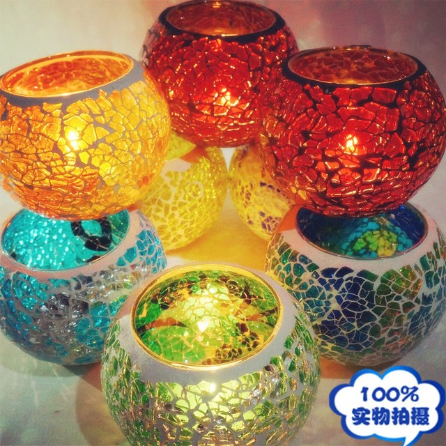 europe type restoring home decoration glass mosaic candle holders wedding candles table decorations christmas candle holder