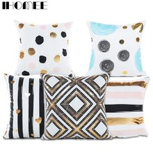Ihomee Bronzing Cushion Cover Geometric Strip Golden Home Decoration Throw Pillow Car Sofa Decorative Pillowcase Drop Shipping(China)