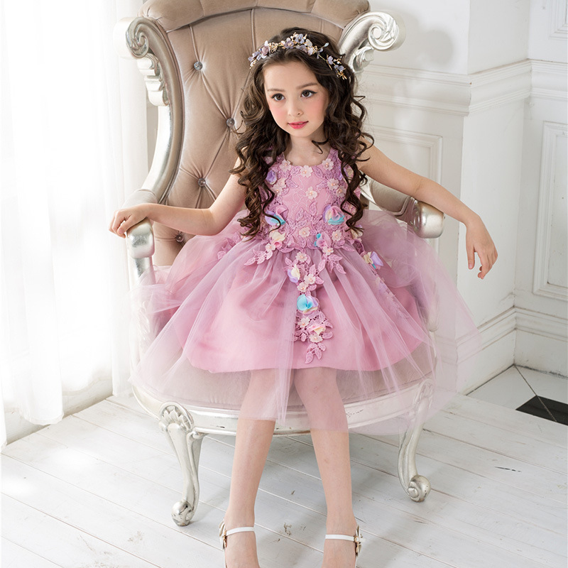 Purple 2017 New Fairy Princess Gilrs O-neck Wedding Lace Bowknot Silk Gown Ball Sleeveless Birthday Show/Performance Dress