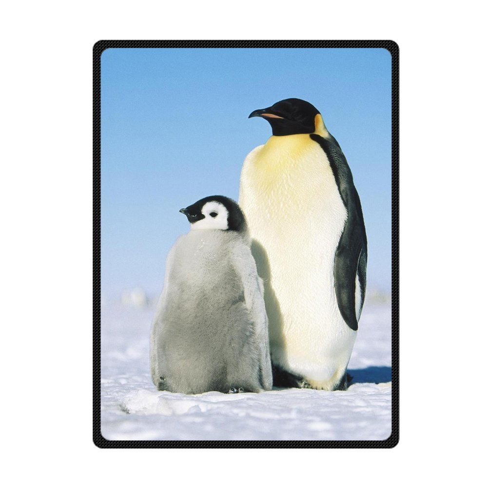 Free Shipping Throw Blanket Custom Parent Penguin With Child Snowfield Supersoft Sofa Bed Throw Blanket Multi-size