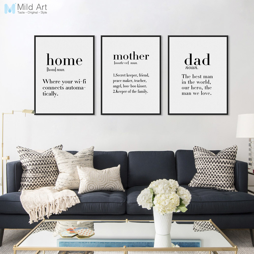 Modern Minimalist Black White Family Dad Mother Quotes A4 ...
