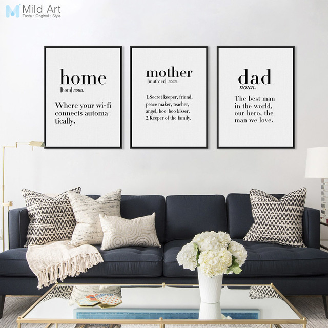 Modern Minimalist Black White Family Dad Mother Quotes A4 Posters Nordic Living  Room Wall Art Picture Part 62