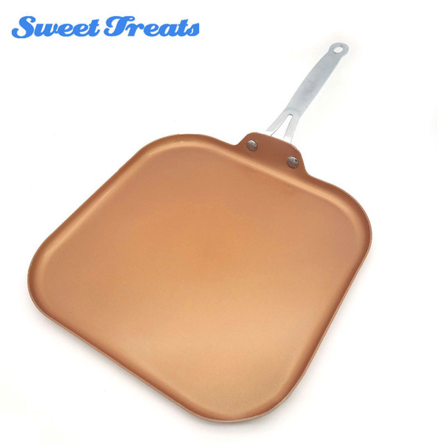 Sweettreats Square Nonstick Copper Ceramic Griddle Pan 11-Inch Nonstick Copper Ceramic Coating Pan With Stainless Steel Handle