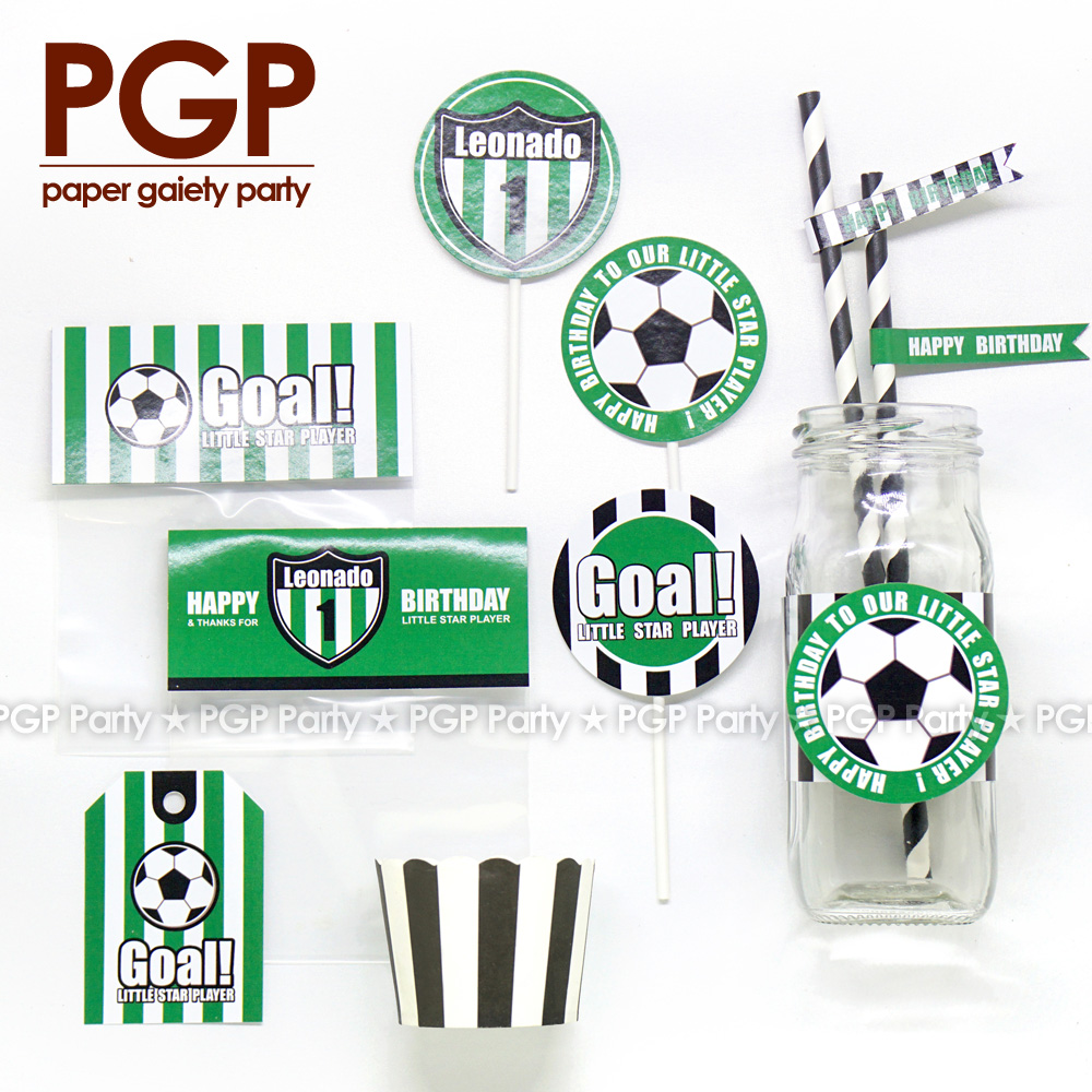 [PGP] Football Party set, Cake Drinks Cup Topper LFP World League One boy Birthday UEFA Championship Serie A Bundesliga FIFAs 18 ...