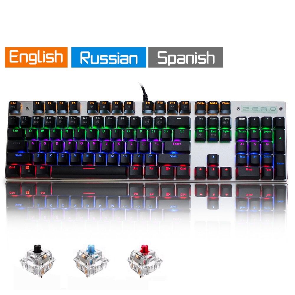 Metoo Оригинальный игровой механической клавиатуры 104 ключ Проводная клавиатура синий/красный/черный переключатель с подсветкой клавиатуры ...