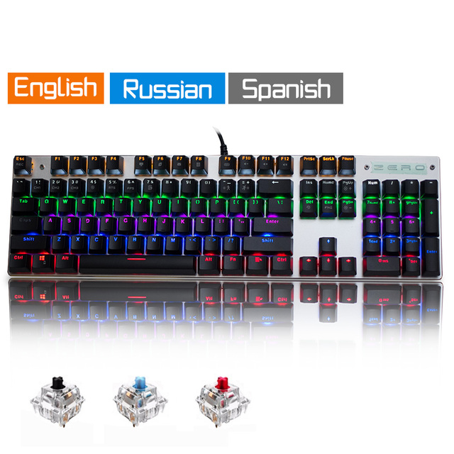 Metoo Original gaming Mechanical Keyboard 104 key Wired keyboard blue/red/black switch Backlit Keyboard English/Russian/Spanish