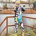 DARSJUCBD Hip Hop Danza Harem Pantalones de Las Mujeres Monos monos Monos Pantalones Personalidad Suelta de Dibujos Animados Pantalones de Las Mujeres de Los Mamelucos