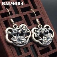BALMORA 990 Pure Silver Lotus Flower Earrings For Women Mother Gift Brincos Vintage Thai Silver Earrings