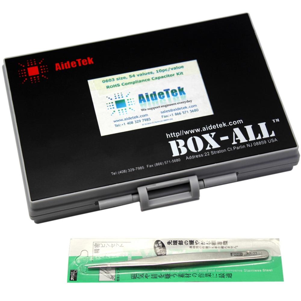 AideTek SMT/SMD 0603 tamanho kit com caixa de armazenamento caixa de capacitor organizzation 50 v x 10 pcs variedade de plástico caixa de ferramentas C0610 - 6