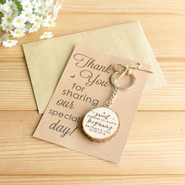 Wedding Thank You Gifts For Guests: Personalized Wooden Keychain Key Ring, Custom Wedding